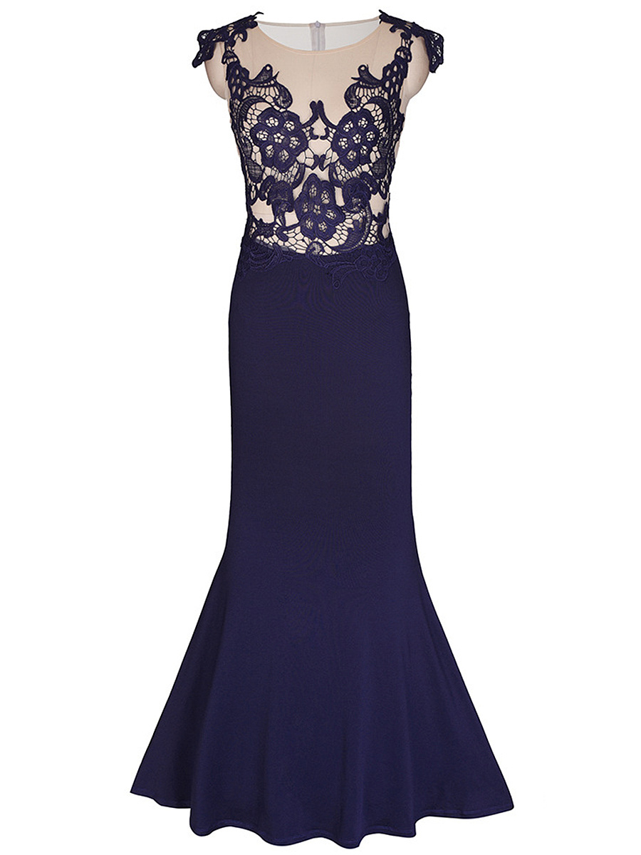 See-Through Decorative Lace Mermaid Evening Dress