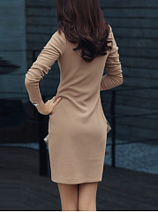 Women Basic Solid Mini Round Neck Bodycon Dress