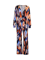 Deep-V-Neck-Color-Block-Printed-Straight-Jumpsuit