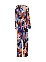 Deep V-Neck Color Block Printed Straight Jumpsuit