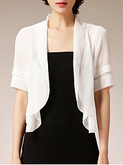 Scalloped Hem  Plain  Half Sleeve Blazers