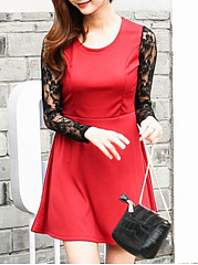 Round Neck  Patchwork Ruffled Hem  Lace Plain Skater Dress