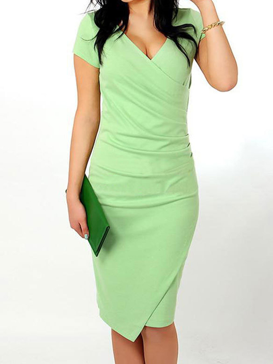 V Neck  Asymmetric Hem  Plain Bodycon Dress