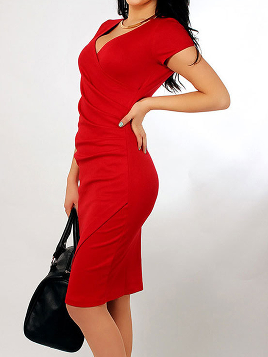 V Neck  Asymmetric Hem  Plain Bodycon Dress
