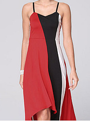 Spaghetti Strap  Patchwork  Curved Hem  Color Block Skater Dress