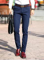 Check-Straight-Pocket-Mens-Casual-Pants