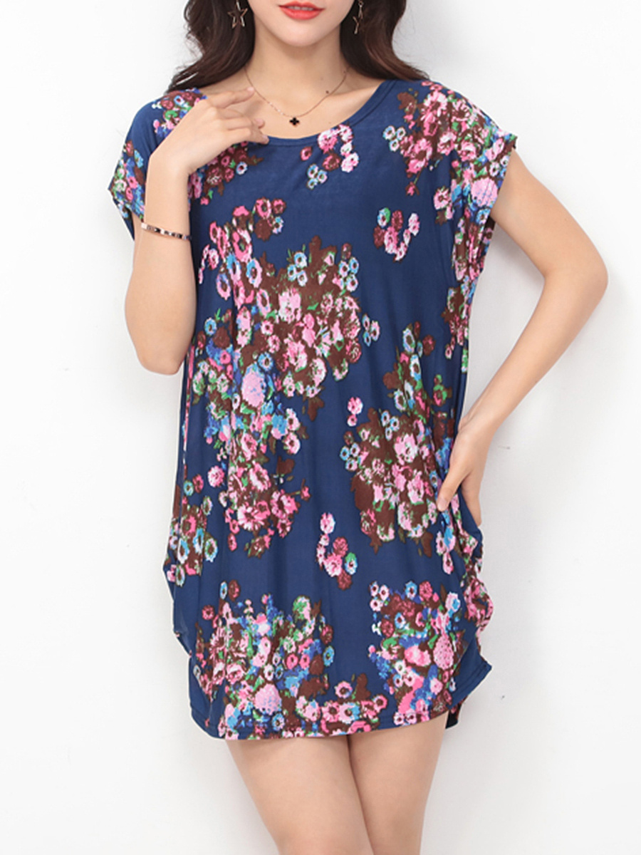 Round Neck Sack Shift Dress In Floral Printed