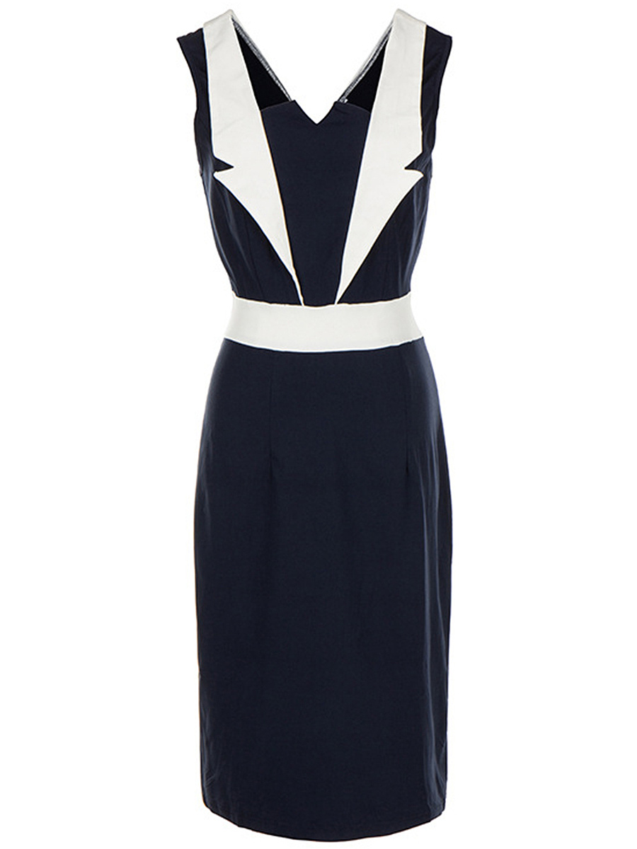 Elegant Split Neck Color Block Bodycon Dress