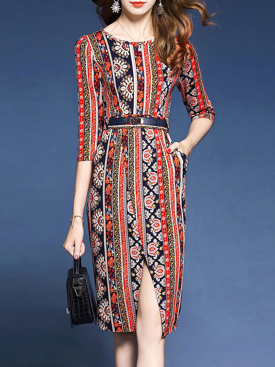 Round Neck Belt Printed Slit Bodycon Dress