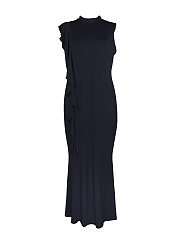 High Neck  Flounce  Plain Plus Size Midi & Maxi Dresses