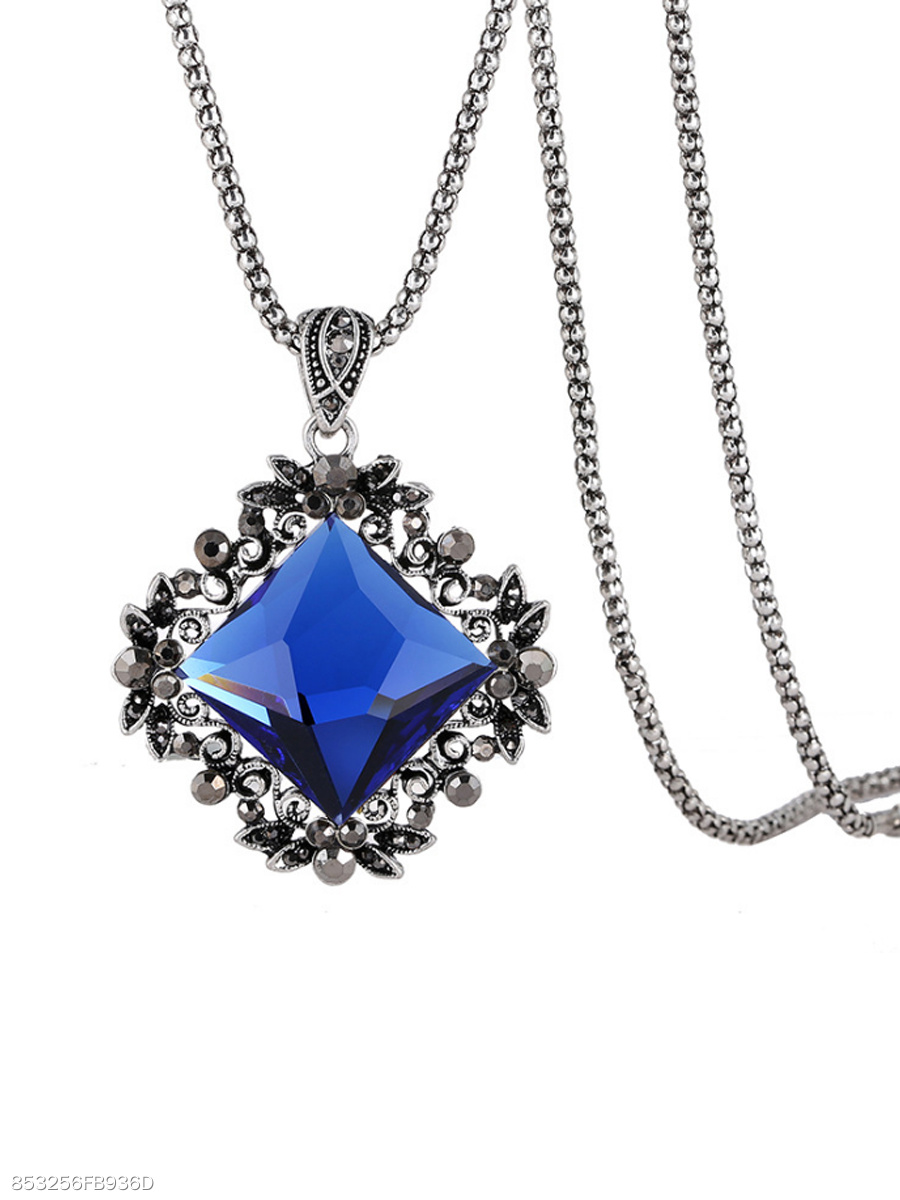 Blue Imitated Crystal Pendant Alloy Long Necklace