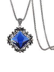 Blue Crystal Pendant Silver Long Necklace