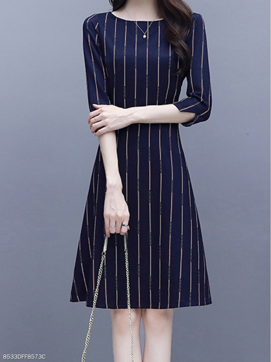 Round Neck  Printed Striped Skater Dress