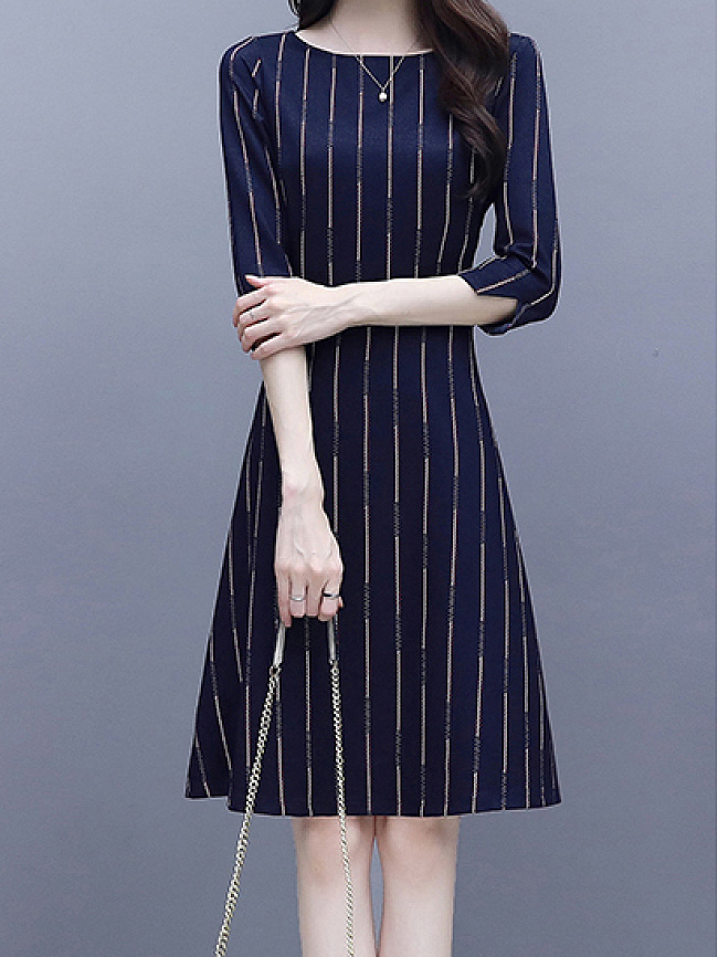 Image of Fashionmia Round Neck Printed Striped Skater Dress