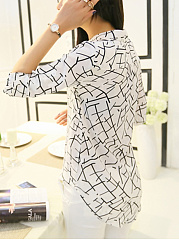 Spring Summer  Cotton  Women  Striped  Roll-Up Sleeve  Three-Quarter Sleeve Blouses
