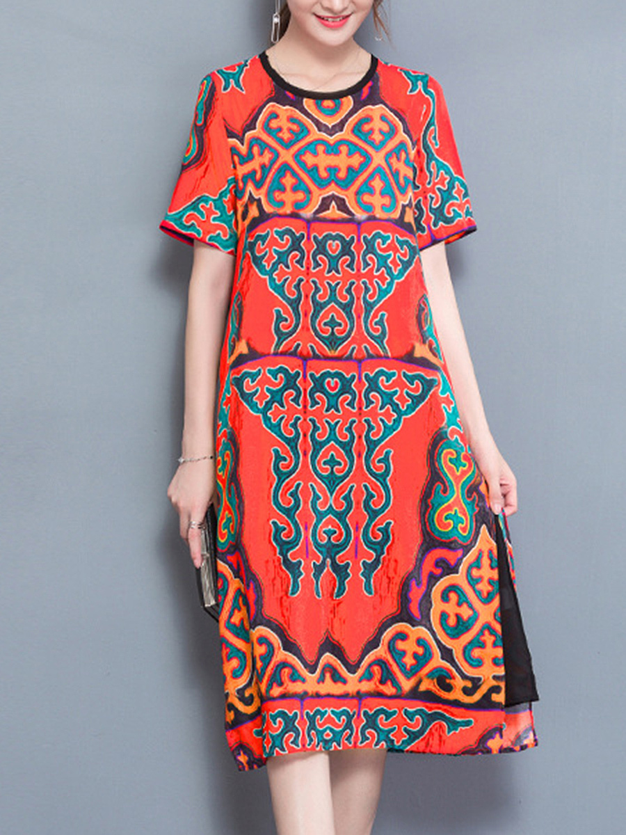 Round Neck Tribal Printed Side Slit Maxi Dress