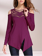 Spring Summer  Polyester  Women  Round Neck  Decorative Lace  Hollow Out Plain Long Sleeve T-Shirts