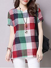 Summer  CottonLinen  Women  Sweet Heart  Asymmetric Hem  Plaid  Short Sleeve Blouses