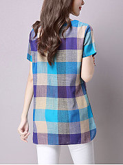 Summer  Cotton/Linen  Women  Sweet Heart  Asymmetric Hem  Plaid  Short Sleeve Blouses
