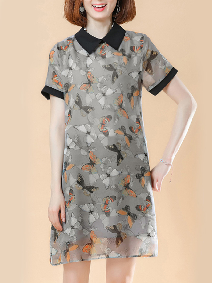 Doll Collar Butterfly Printed Shift Dress