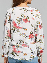 Summer  Cotton  Women  Surplice  Floral Printed  Long Sleeve Blouses