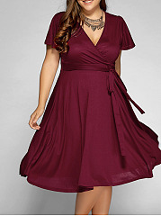 Deep V-Neck  Lace-Up  Plain Plus Size Midi  Maxi Dresses
