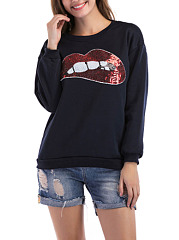 Round Neck  Patchwork Lips Sweatshirts