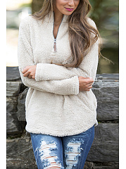 V-Neck  Plain  Long Sleeve Coats