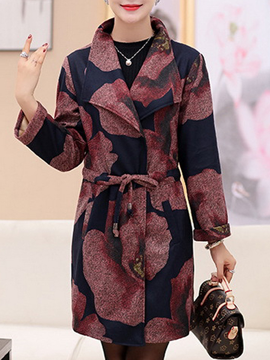 Lapel Drawstring Printed Woolen Trench Coat