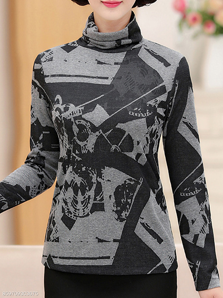 Autumn Spring Winter  Cotton  Women  Turtleneck  Abstract Print Long Sleeve T-Shirts