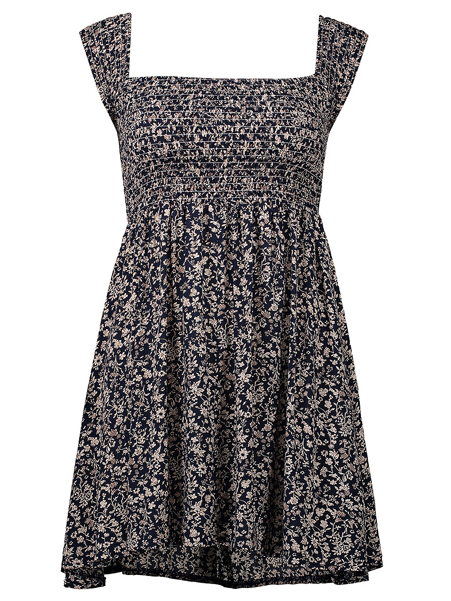Smocked Bodice Two Way Printed Skater Dress