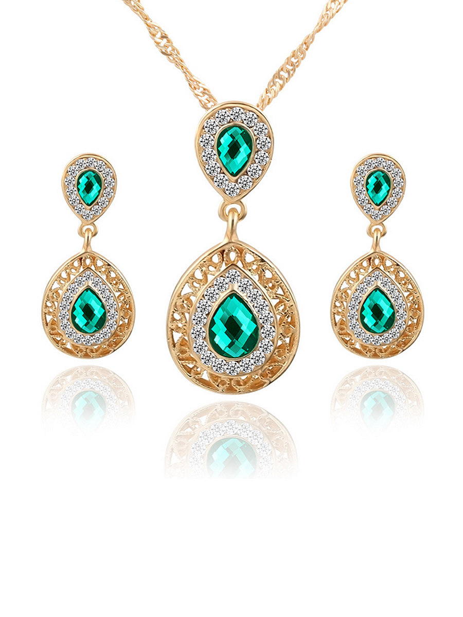 Water-Drop Crystal Necklace And Earring