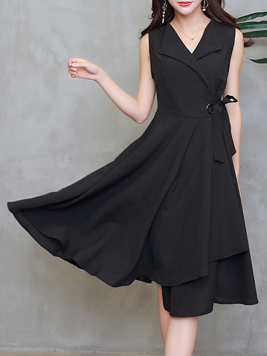 V-Neck Plain Tie-Side Maxi Dress