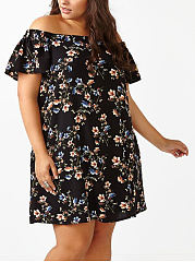 Open Shoulder  Printed Plus Size Bodycon Dress
