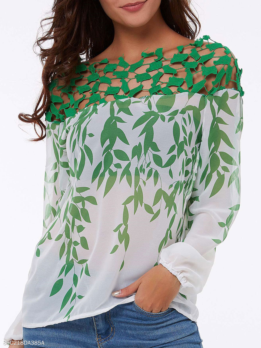 Spring Summer  Polyester  Women  Boat Neck  Hollow Out Printed  Long Sleeve Blouses
