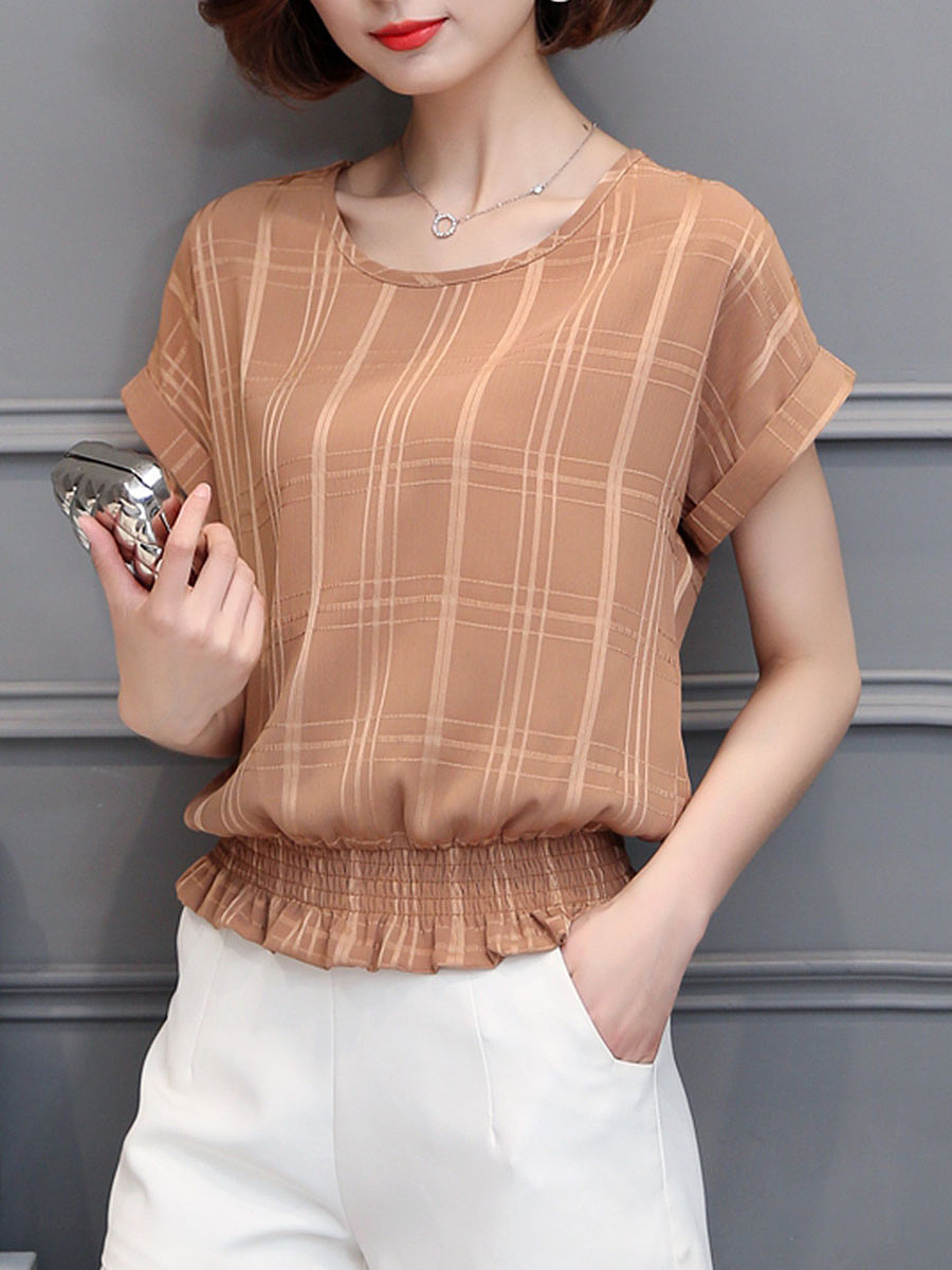 Round Neck  Elastic Waist  Plaid Plain Blouse