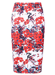 Elegant Floral Printed Slit Pencil Midi Skirt