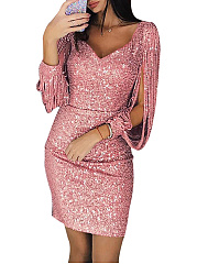 V-Neck  Glitter  Hollow Out Bodycon Dress