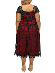 Exquisite Sweet Heart Hollow Out Plus Size Flared Dress