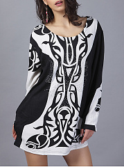 Scoop Neck Black White Printed Mni Shift Dress