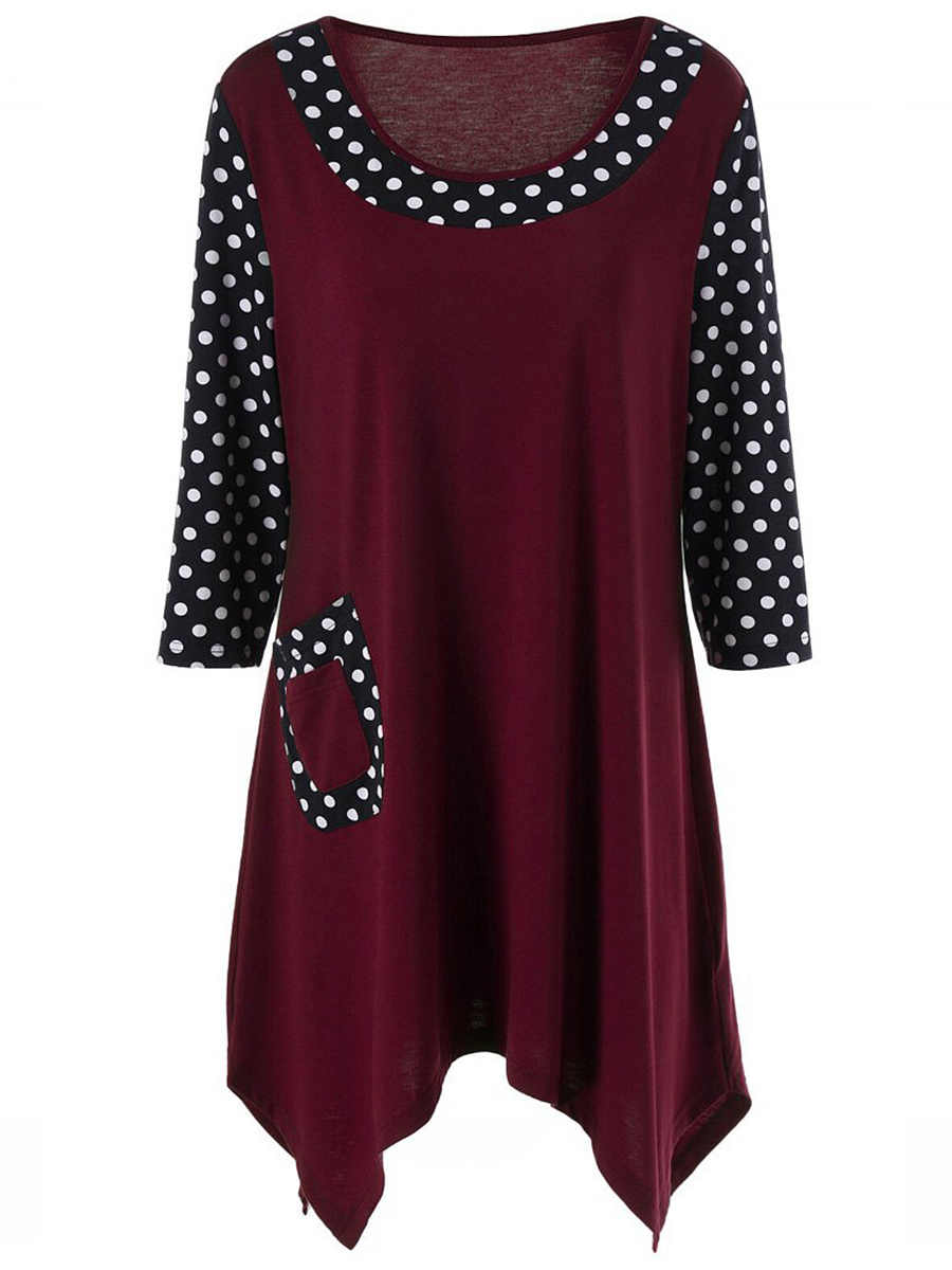 Longline Asymmetric Hem Polka Dot Long Sleeve T-Shirt