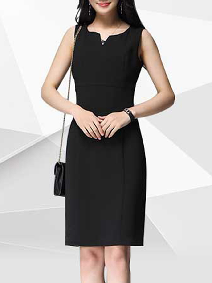 Split Neck Plain Bodycon Dress In Black
