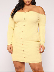 Open Shoulder  Single Breasted  Plain Plus Size Bodycon Dress