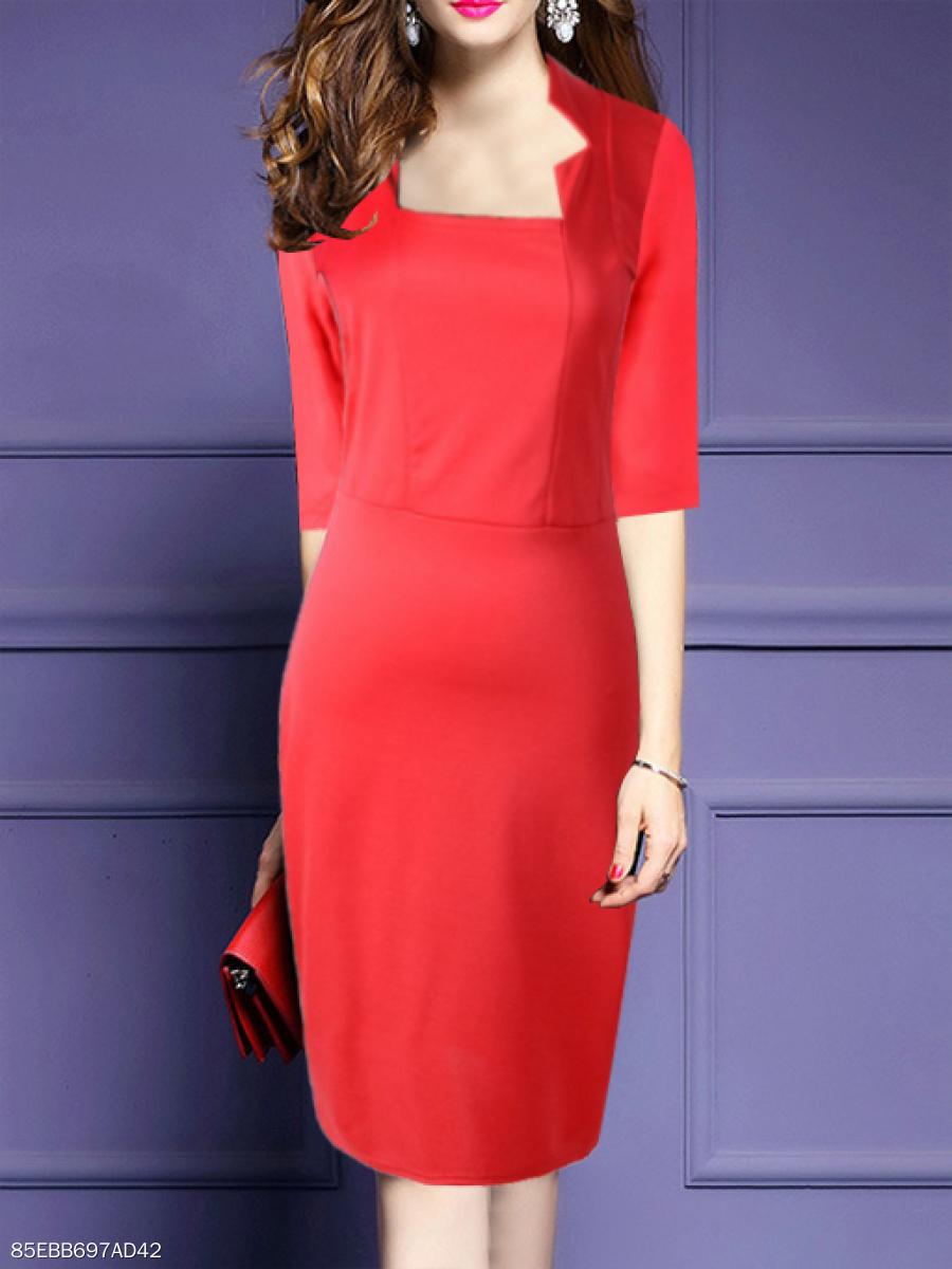 579b38d2c1c1 Square Neck Patchwork Slit Plain Bodycon Dress - fashionMia.com