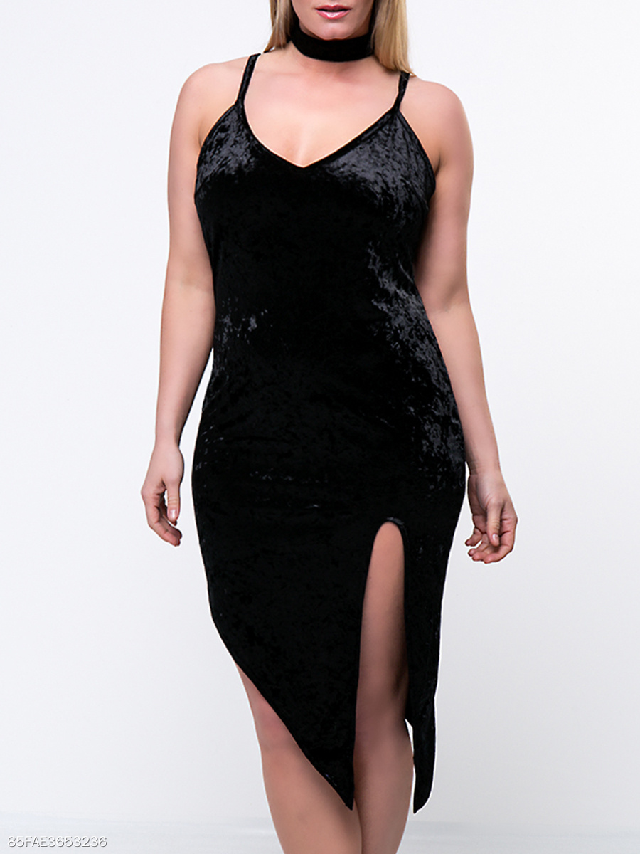 Alluring Asymmetric Hem Slit  Plain Velvet Plus Size Bodycon Dress