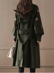 Fold-Over Collar  Belt  Embroidery  Raglan Sleeve  Long Sleeve Coats