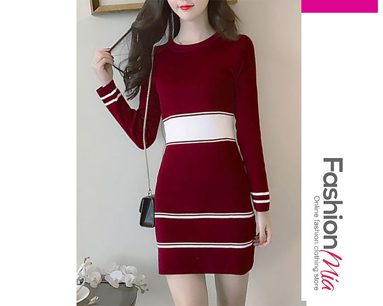 Round Neck  Color Block Striped  Knit Knitted Dress 8609233A7449