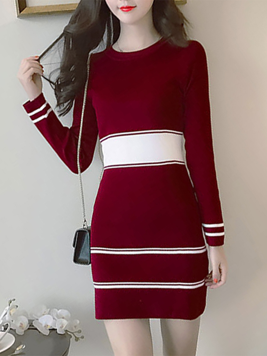 Round Neck  Color Block Striped  Knit Knitted Dress