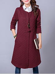 Collarless  Single Button  Embossed Trench Coat