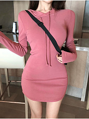 Hooded  Plain   Weiyikuan  Collar Band Bodycon Dress